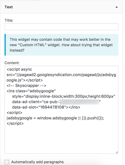 Notification Message in Old Text Widget