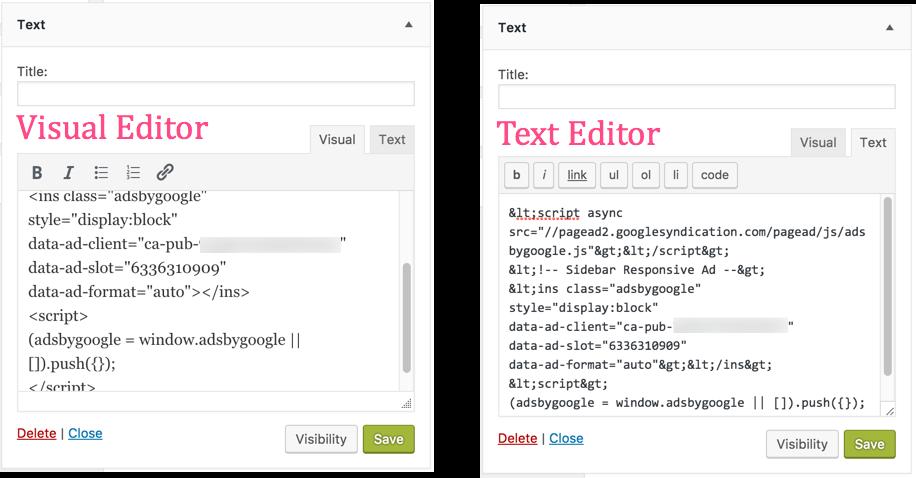 WordPress Text Widget Text Editor Issues