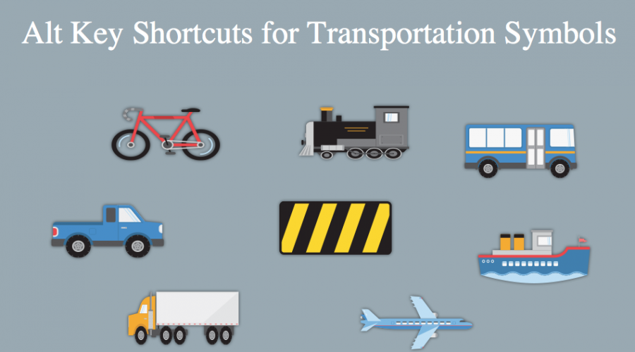 Alt Key Shortcuts for Transportation Symbols