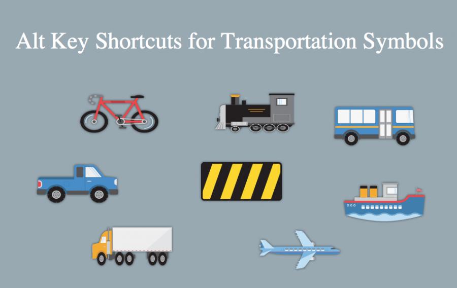 Alt Key Shortcuts for Transportation Symbols