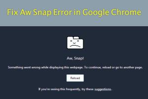 Fix Aw Snap Error in Google Chrome