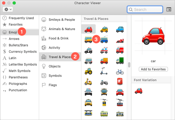 Transport Emoji Symbols in Mac