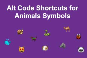 Alt Code Shortcuts for Animals Symbols