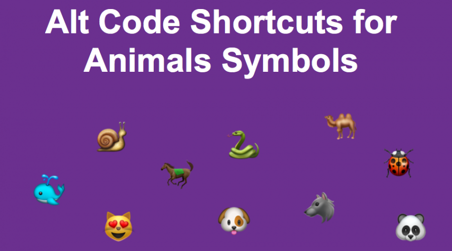 Alt Code Shortcuts for Animals Symbols