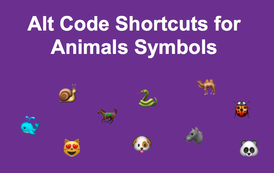 Alt Code Shortcuts For Animals Symbols Webnots