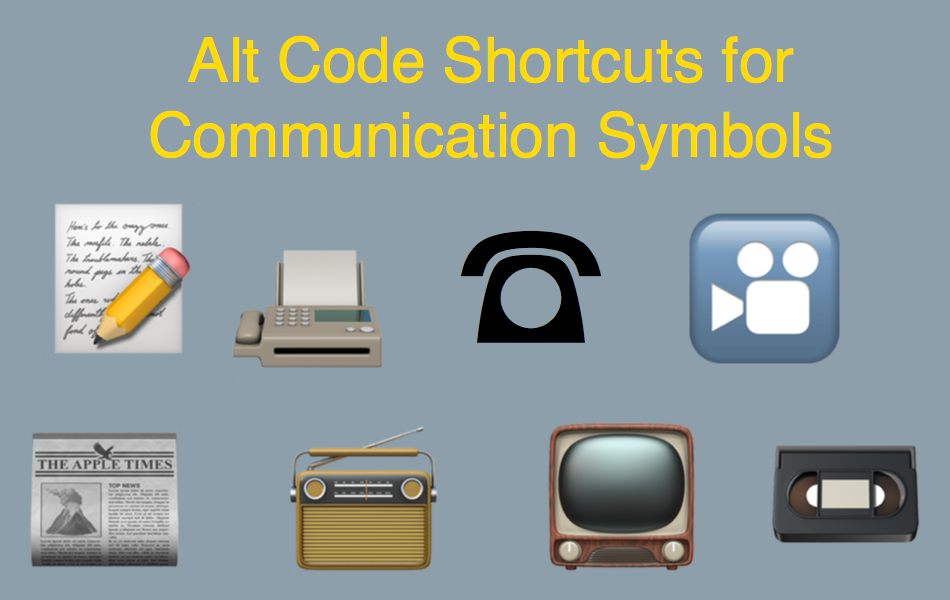 Alt Code Shortcuts for Communication Symbols