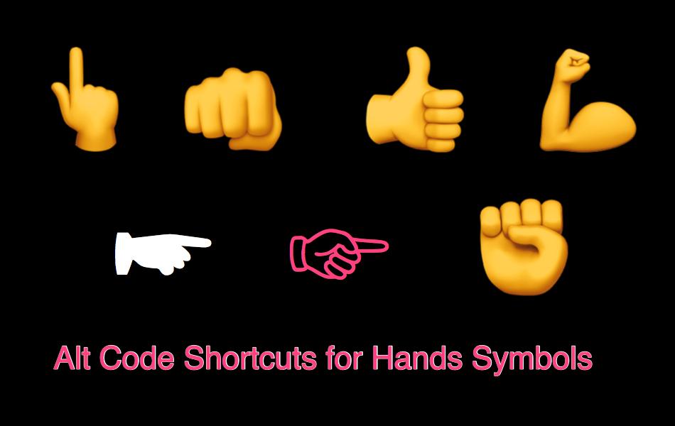 Alt Code Shortcuts For Hands Symbols Webnots