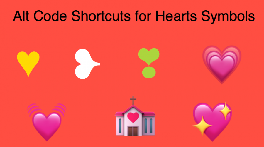 Alt Code Keyboard Shortcuts for Heart Emoji