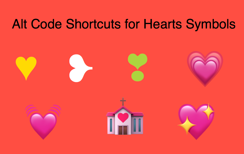 Alt Code Shortcuts For Hearts Symbols Webnots