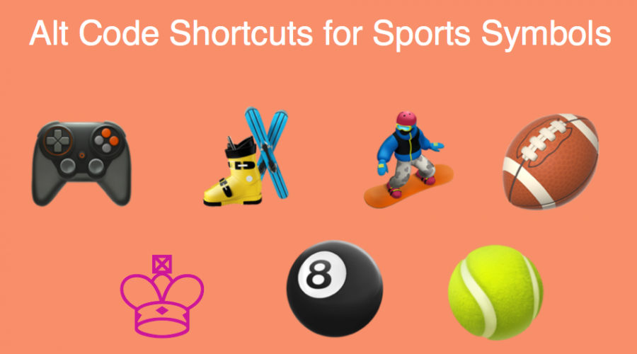 Alt Code Shortcuts for Sports and Games Symbols