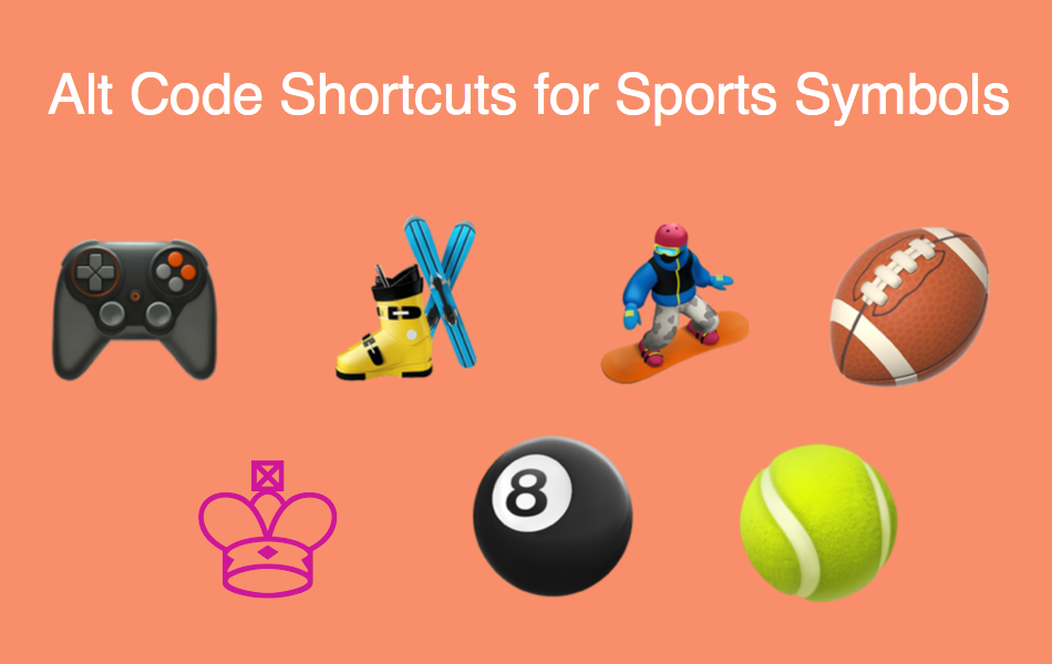 Alt Code Shortcuts for Sports and Games Symbols