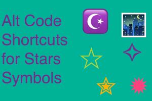 Alt Code Shortcuts for Stars Symbols