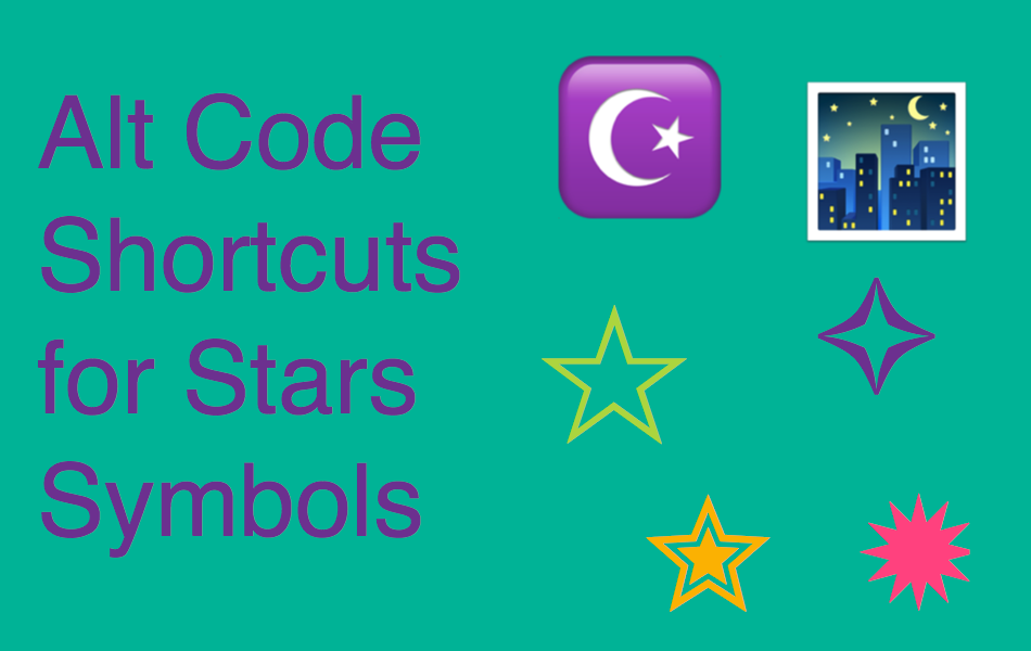 Alt Code Shortcuts For Stars Symbols Webnots