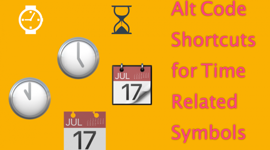 Alt Code Shortcuts for Clock and Time Symbols