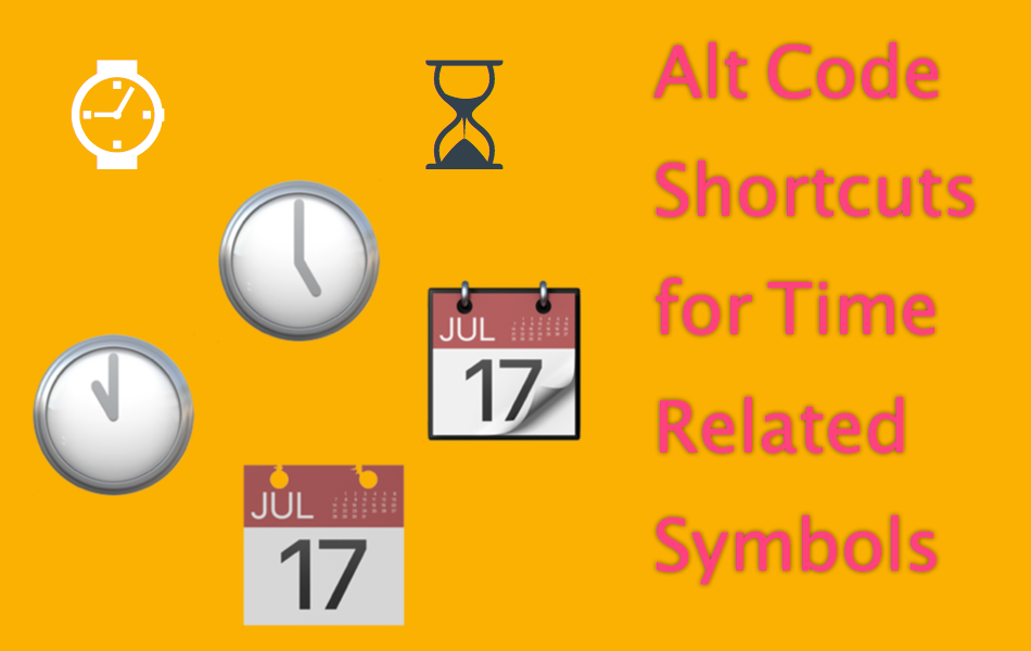 Alt Code Shortcuts for Time Related Symbols
