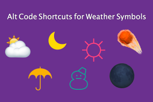 Alt Code Shortcuts for Weather Symbols