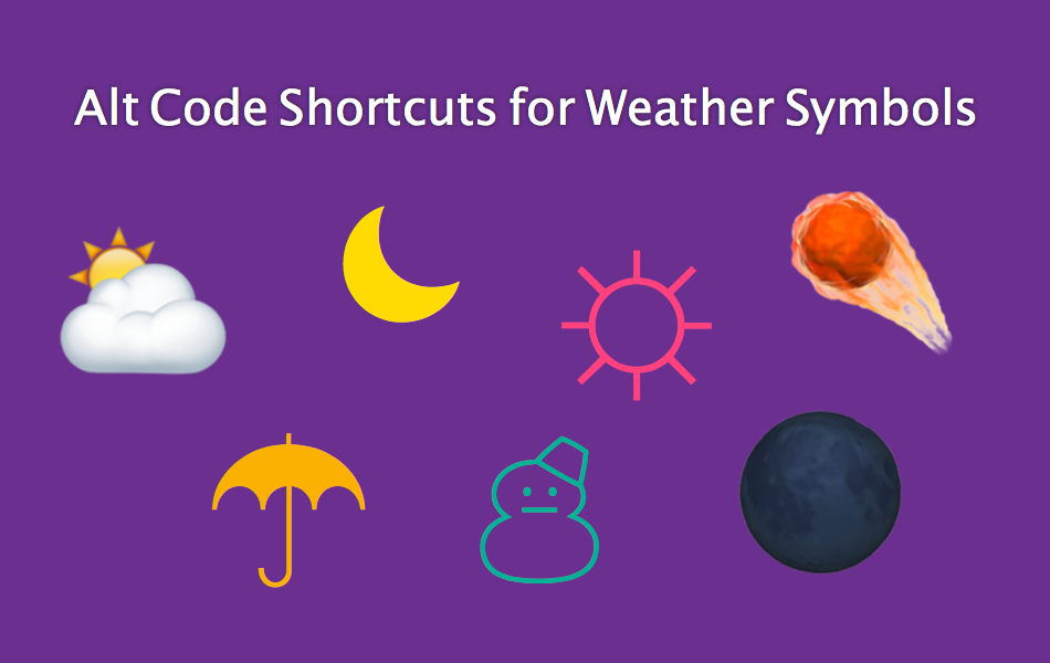 Alt Code Shortcuts for Weather Symbols