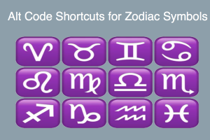 Alt Code Shortcuts for Zodiac Symbols