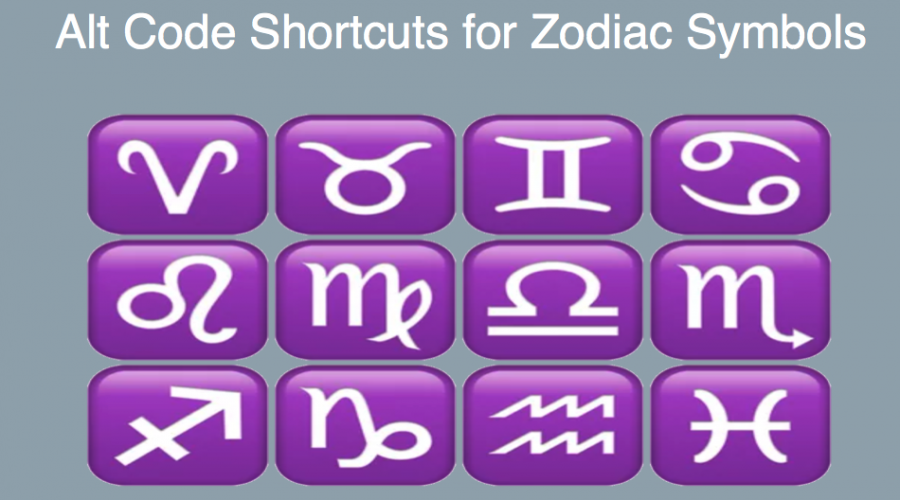 Alt Code Shortcuts for Zodiac and Planet Symbols