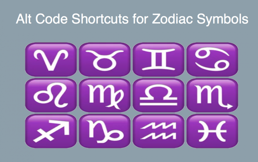 Alt Code Shortcuts for Zodiac Symbols