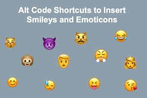 Alt Code Shortcuts to Insert Smileys and Emoticons