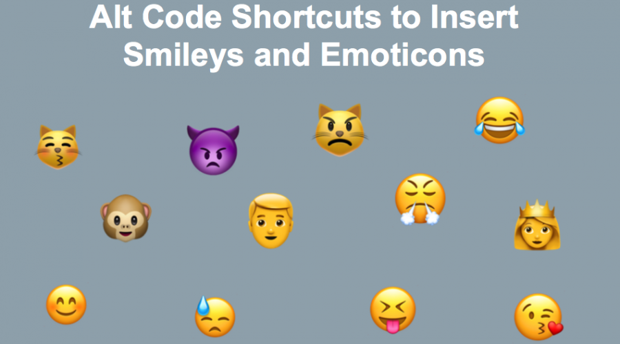 Alt Code Shortcuts for Emoji, Smileys and Emoticons