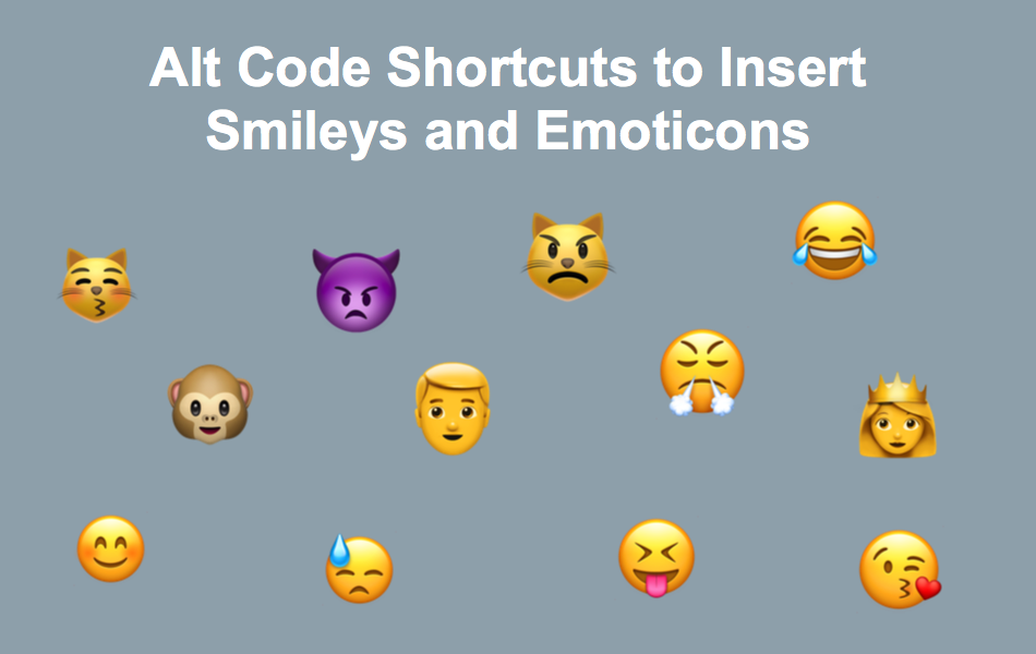 Alt Code Shortcuts To Insert Smileys And Emoticons Webnots