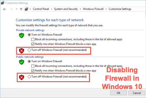 Disable Firewall in Windows 10