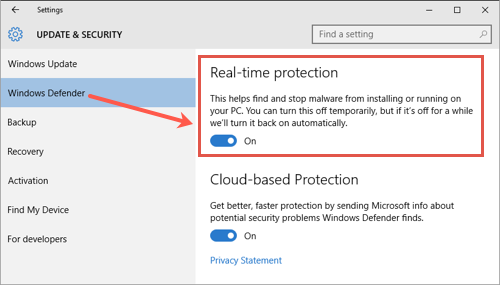 Disable Windows Defender Realtime Protection