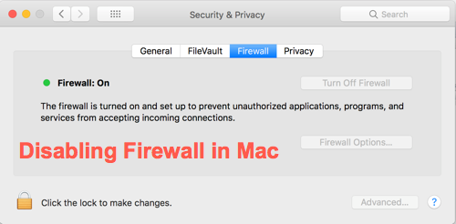Disabling Firewall in Mac