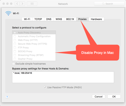 Disabling Proxy in Mac