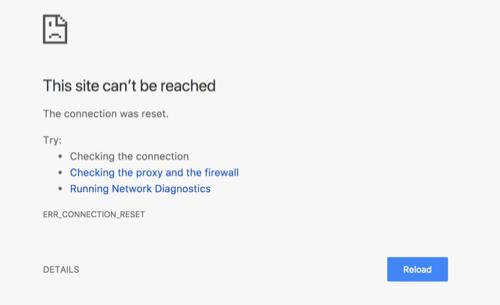 ERR_CONNECTION_RESET Error in Chrome