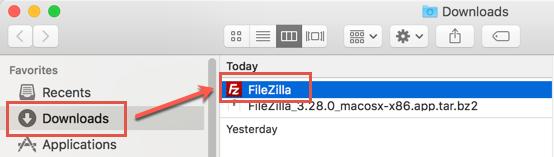 FileZilla Application File in Downloads Folder