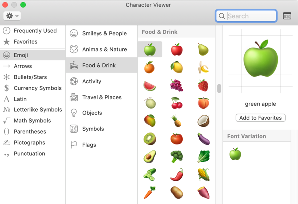 Food and Drinks Emoji Symbols in Mac