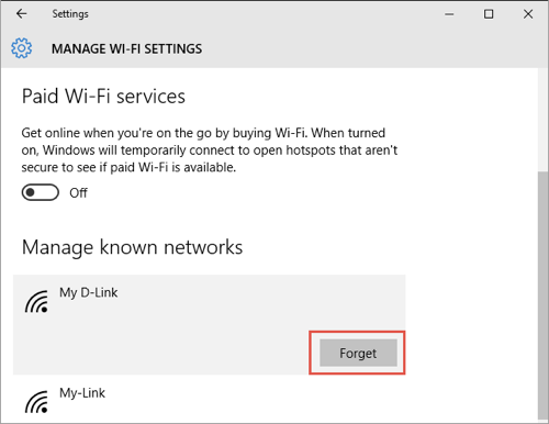 Forget WiFi Network in Windows 10
