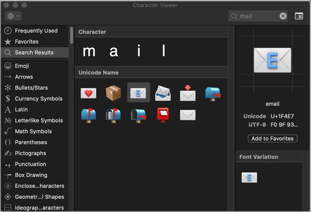 Insert Communication Symbols in Mac
