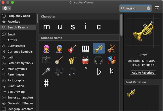 Insert Music Symbols in Mac