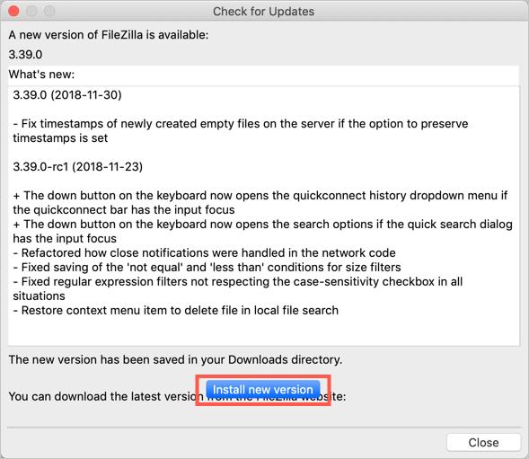Install New Version Option in FileZilla