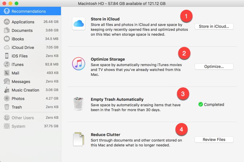 Mac Default Cleanup Options