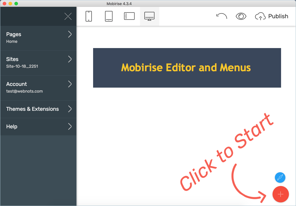 Mobirise Editor and Menus
