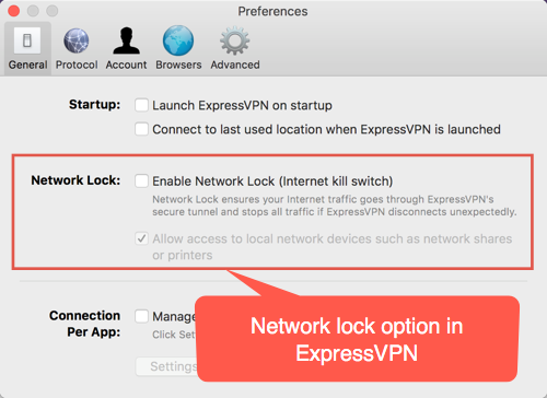Network Lock Option in ExpressVPN