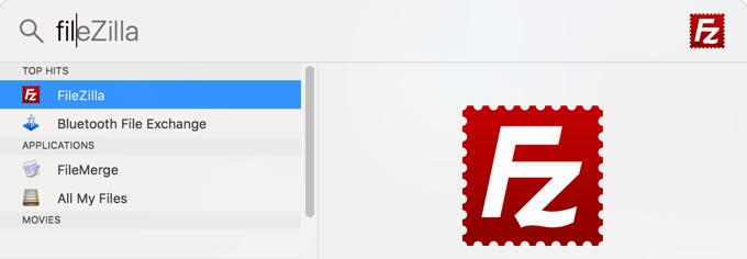 Open FileZilla with Spotlight Search