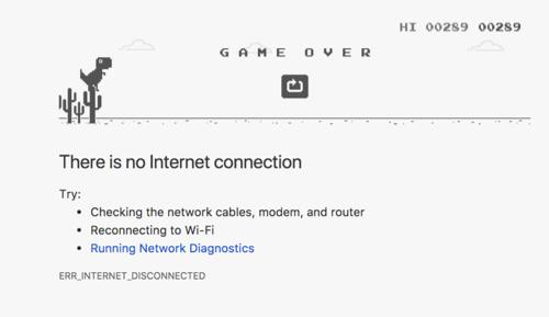 Playing T-Rex Dinosaur Game in Google Chrome