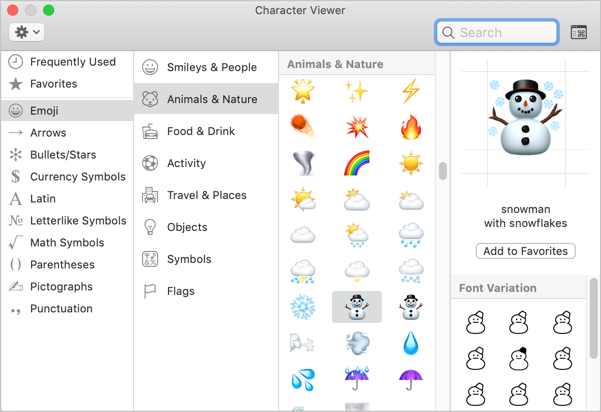 Weather Emoji Symbols in Mac