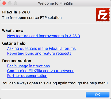 Welcome Message in FileZilla Latest Version