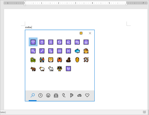 Zodiac Symbols in Windows Emoji Keyboard