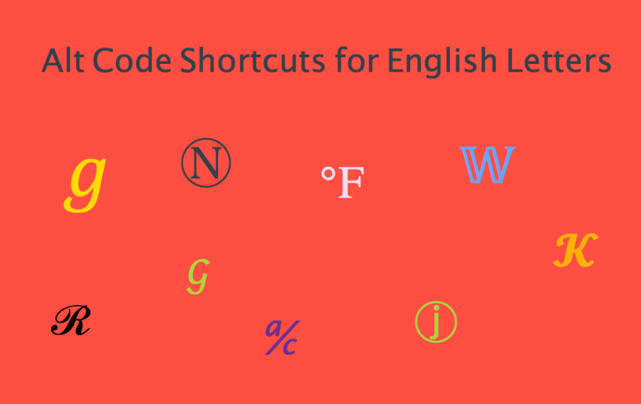 Alt Code Shortcuts for English Letters