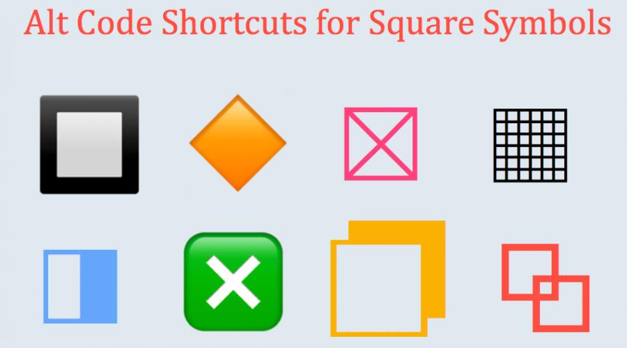 Alt Code Shortcuts for Square Symbols