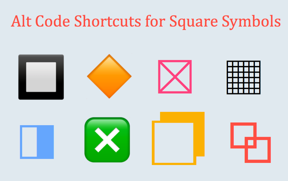 Alt Code Shortcuts For Square Symbols Webnots