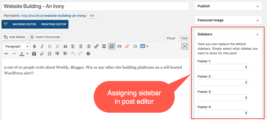 Assigning Sidebar in Post Editor